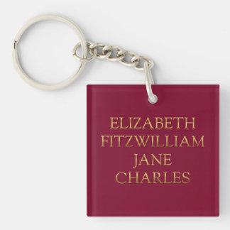 Jane Austenhauptcharakter-Stolz und Vorurteil Schlüsselanhänger