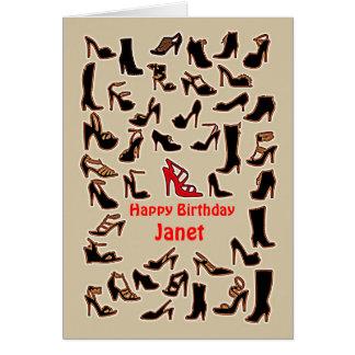 Janet beschuht alles- Gute zum Geburtstagkarte Karte
