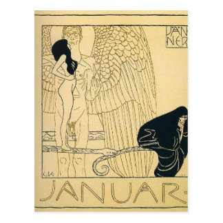 Januar durch Gustav Klimt Postkarte