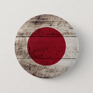Japan-Flagge auf altem hölzernem Korn Runder Button 5,7 Cm