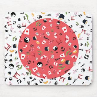 Japan-Flagge mit berühmten Ikonen Mousepad
