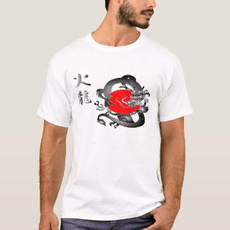 Japan-Flaggen-Feuer-Drache-T - Shirts