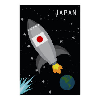 Japan-Flaggen-Rocket-Schiff Poster