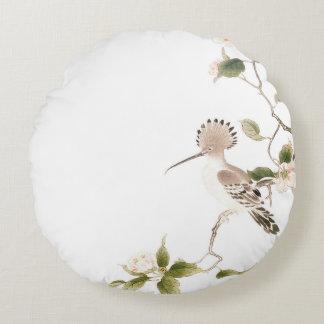 Japan-Frühlings-Blumen und Vögel Rundes Kissen