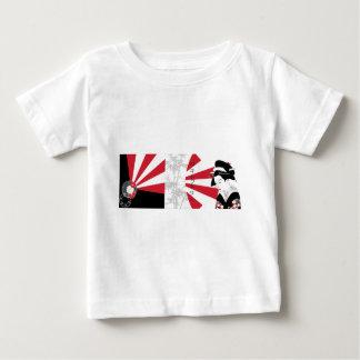 Japanbambusmuster-Collagen-Asien-Blumen Baby T-shirt
