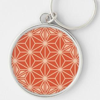 Japaner Asanoha Muster - korallenrote Orange Schlüsselanhänger