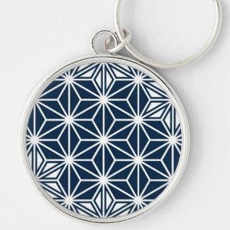 Japaner Asanoha Muster - Marineblau Schlüsselanhänger