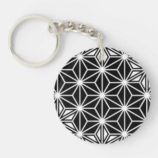 Japaner Asanoha Muster - Schwarzweiss Schlüsselanhänger
