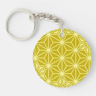 Japaner Asanoha Muster - Senfgold Schlüsselanhänger