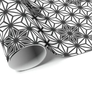 Japaner Asanoha Muster - Weiß und Schwarzes Geschenkpapier