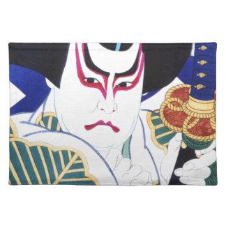 Japaner Kabuki Schauspieler-Kunst durch Natori Stofftischset