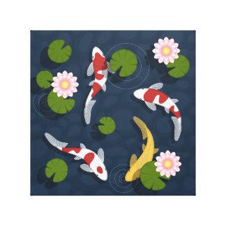 Japaner Koi Fisch-Teich Leinwanddruck