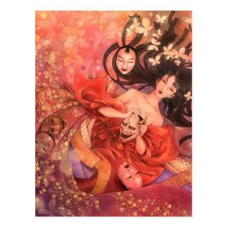 Japaner Noh Masken-Fantasie-Kunst-Postkarte Postkarte