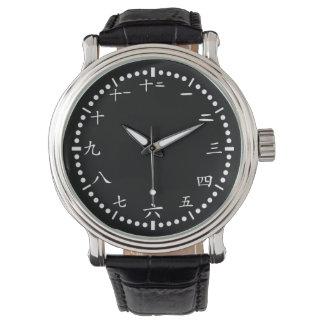 Japaner nummeriert schwarzen Hintergrund Uhr