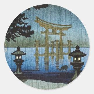 Japanische Abends-Regen Woodblock Kunst Ukiyo-e Runder Aufkleber