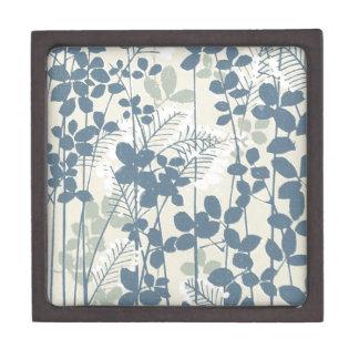 Japanische asiatische Kunst-blauer Blumen-mit Kiste