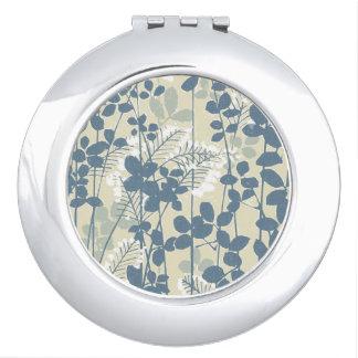 Japanische asiatische Kunst-blauer Blumen-mit Taschenspiegel