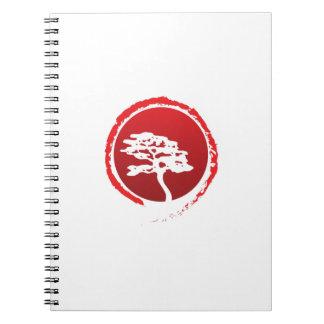 Japanische Bonsais-Baum-Japan-Traditions-Kultur Notizblock