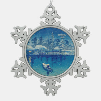 Japanische Boote Schneeflocken Zinn-Ornament