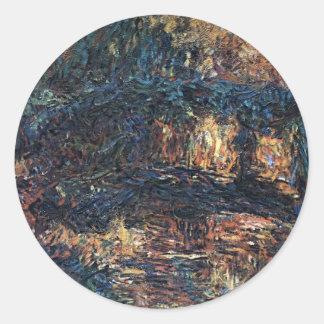 Japanische Brücke durch Claude Monet, Vintage Runder Aufkleber