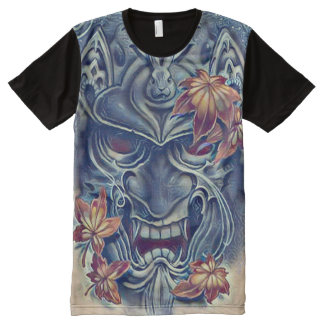 Japanische Dämon-Masken-Acryl-Kunst T-Shirt Mit Bedruckbarer Vorderseite