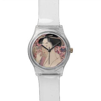 Japanische Frau, die einen Kamm, Kitagawa Utamaro Uhr