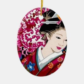 Japanische Frau im Kimono Keramik Ornament