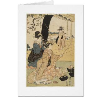 Japanische Frauen, die Bogenschießen C. 1798 üben Grußkarte
