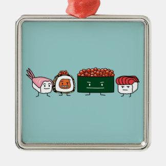 Japanische Garnelelachse des glücklichen Quadratisches Silberfarbenes Ornament