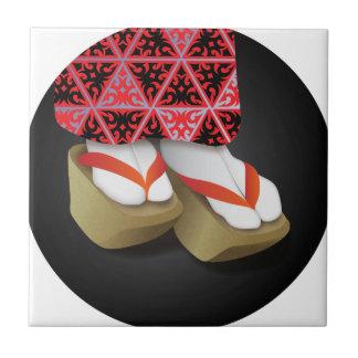 Japanische Geisha-hölzerne Schuhe Keramikfliese