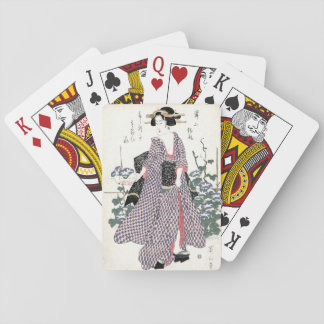Japanische Geisha in Kimono Woodblock Druck Spielkarten