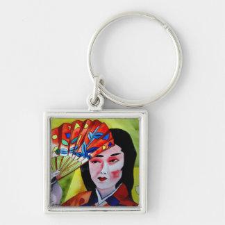 japanische Geisha mit Fan-Aquarell-Vorlagenkunst Schlüsselanhänger