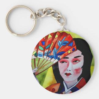 Japanische Geisha mit ursprünglicher Aquarellkunst Schlüsselanhänger