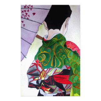 Japanische Geishakunst mit Kimono und Regenschirm Briefpapier