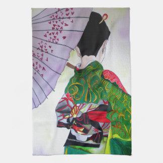 Japanische Geishakunst mit Kimono und Regenschirm Küchentuch
