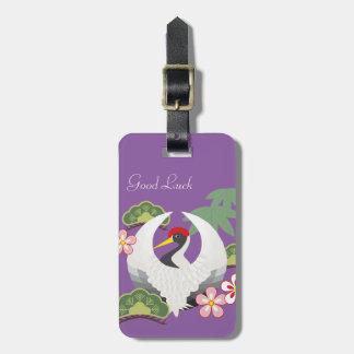 Japanische glückliche Symbol-Kran-Feier lila Gepäckanhänger