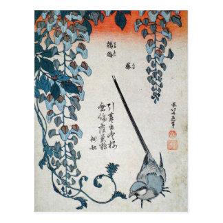 Japanische Glyzinien und Wagtail (durch Hokusai) Postkarte