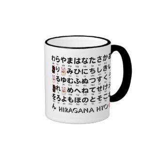 Japanische Hiragana- u Katakanatabelle Alphabet Kaffeetassen