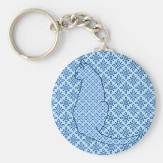 Japanische Katze - blauer Kimono-Druck Schlüsselanhänger