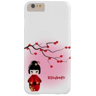 Japanische kokeshi Puppe an Kirschblüte-Blüten Barely There iPhone 6 Plus Hülle