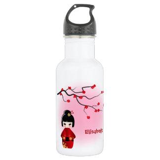 Japanische kokeshi Puppe an Kirschblüte-Blüten Edelstahlflasche