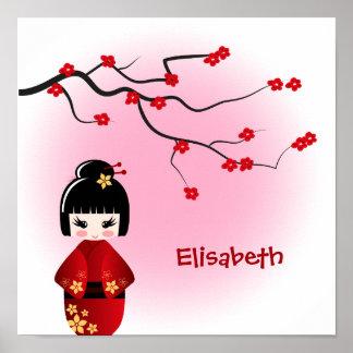 Japanische kokeshi Puppe an Kirschblüte-Blüten Poster