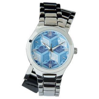 Japanische Kräne, Marine, Weiß und hellblaues Armbanduhr