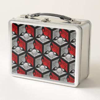 Japanische Kräne, Rot, Graues/Grau und Schwarzes Metall Lunch Box