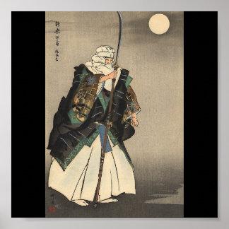 Japanische Kriegers-Malerei. Circa 1922 Posterdruck