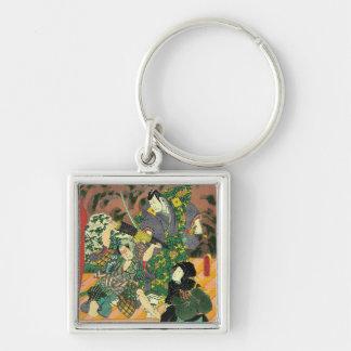 Japanische Kunst - Malerei des zwei Silberfarbener Quadratischer Schlüsselanhänger