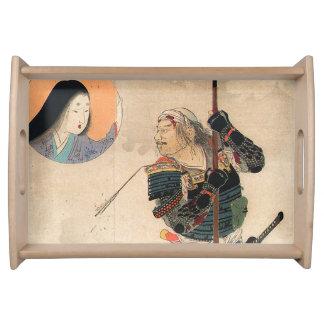 Japanische Kunst - Malerei eines Samurais und Tabletts