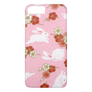 Japanische Kunst: Rosa Sakuras u. Kaninchen iPhone iPhone 7 Plus Hülle