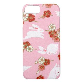 Japanische Kunst: Rosa Sakuras u. Kaninchen iPhone iPhone 8/7 Hülle