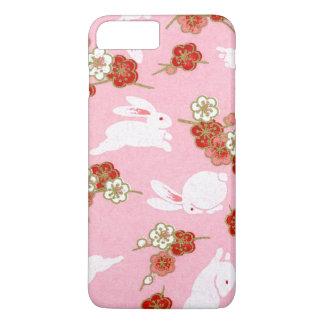 Japanische Kunst: Rosa Sakuras u. Kaninchen iPhone iPhone 8 Plus/7 Plus Hülle